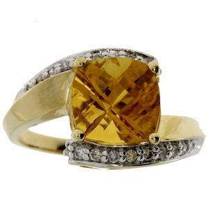 Yellow Gold Citrine & Diamond Accent Twisted Ring